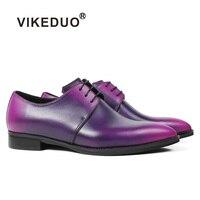 Vikeduo пикантные Для женщин Дерби обувь фиолетовый 2018 Новая мода Китай бренд элегантная дама Кожаные модельные туфли обувь патина заказ Sapatos