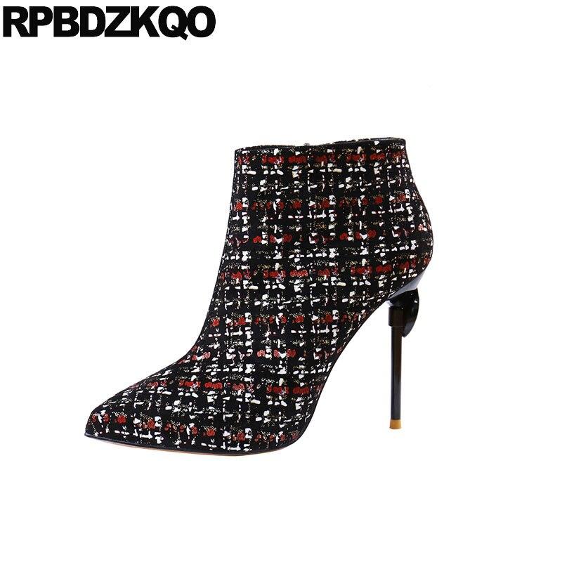 Scarpe A Stivaletti Rosso Vino Di Fetish Alto colore Zip Estremo Sexy  Designer Caviglia Donna Stivali Stiletto Punta ... 44f6d3acaab
