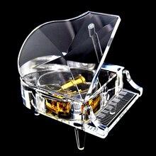 Acrylic Crystal Piano Music Box Christmas Gift Castle