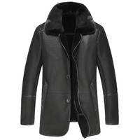 New Brand Fur Men S Large Genuine Leather Men S Large Code Warm Loose Lapel