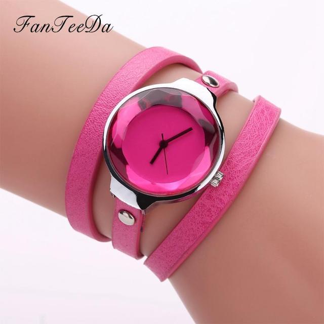 Women Fine Leather Band Winding Analog Quartz Movement Wrist Watch clock women r