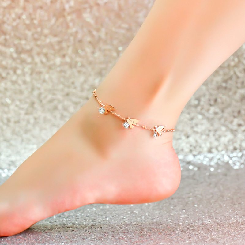Top Quality 18KGP Rose Gold Plated Titanium Steel Bird Zircon Anklet Women Fashion Brand Jewelry Free