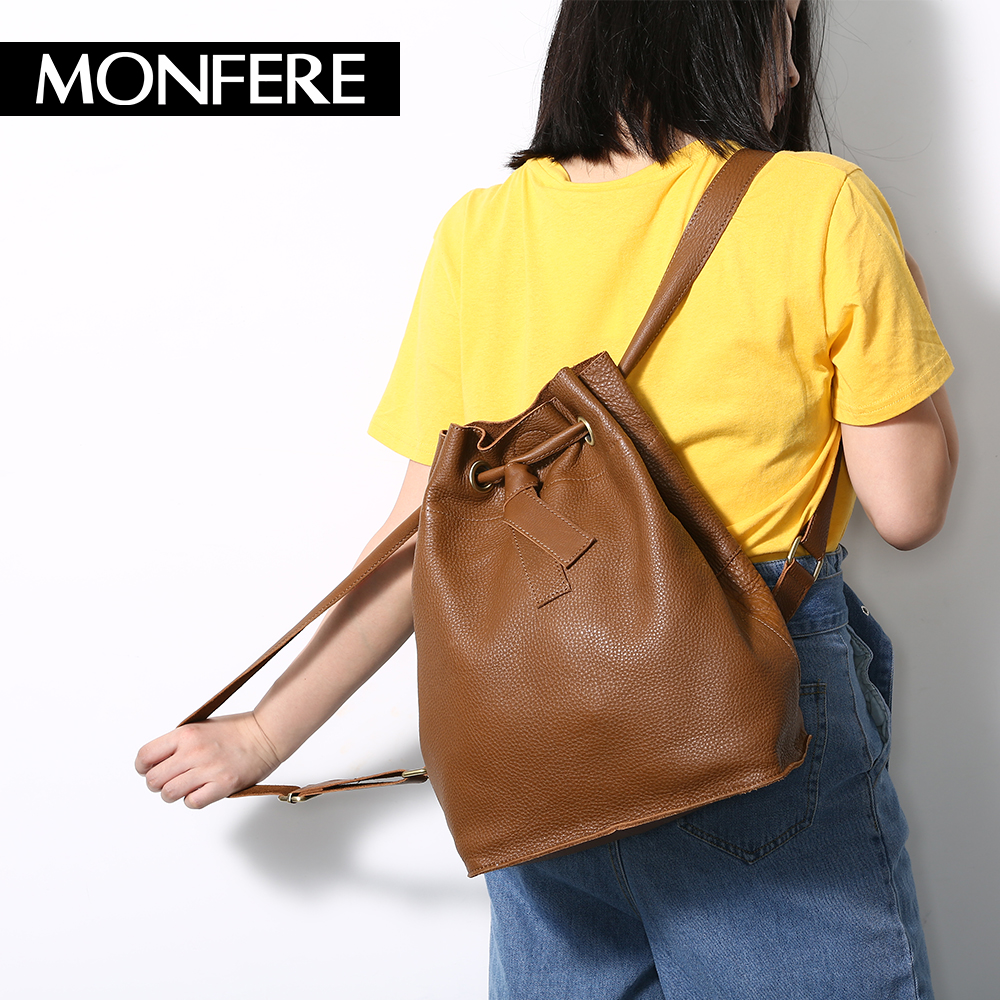 MONFERE Soft Real Genuine Leather Women Backpacks Causal School Bag string bucket Ladies Bags Student Backpack Teenagers Package twenty four women backpacks genuine leather ladies travel backpack for teenagers girls bucket bag vintage real leather mochilas