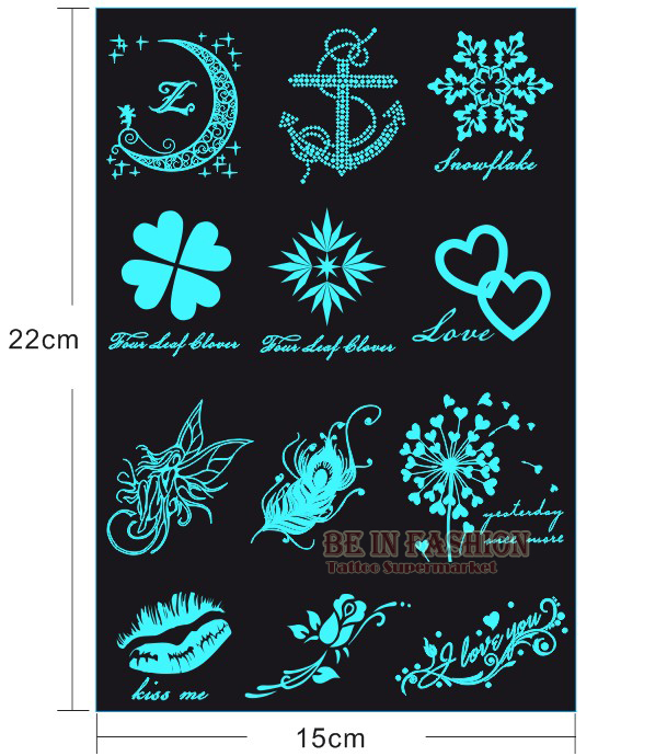 Glow In The Dark Flash Darkness Tattoos Sticker Love Moon Batom Small Hand Luminous Fake Tattoo Fluorescent Glowing Halloween