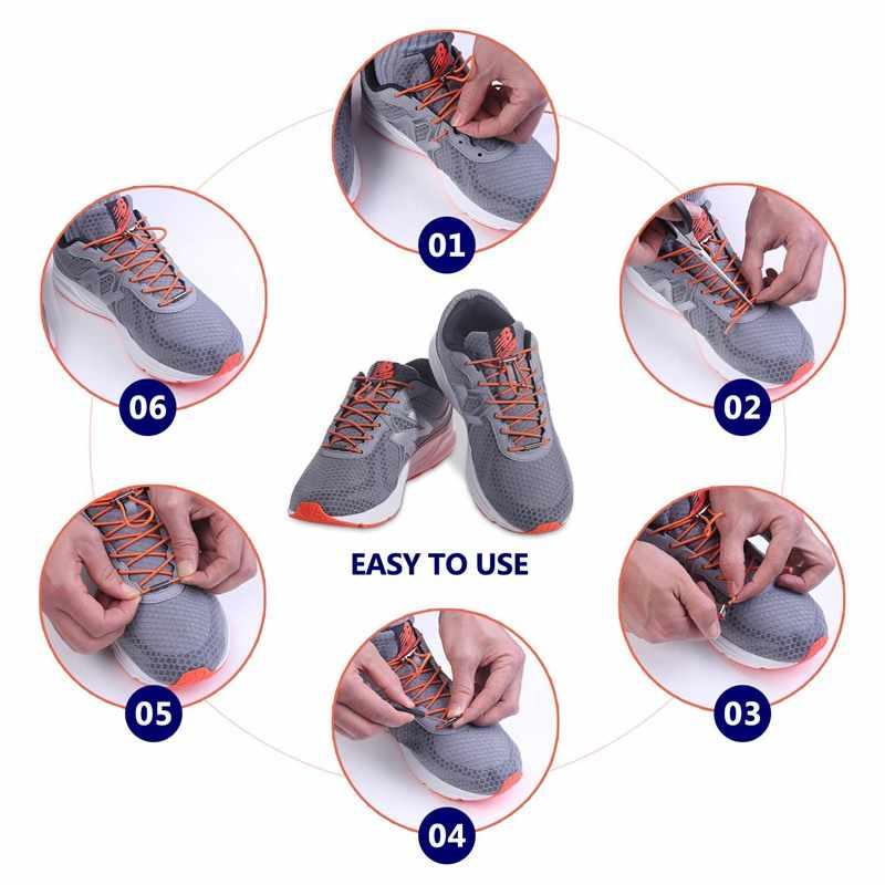 1 par de cordones rápidos, zapato que No se ata, Cordones redondos, zapatillas de cordones, cordones Unisex para niños y adultos, cordones para perezosos de 18 colores, candado de Metal
