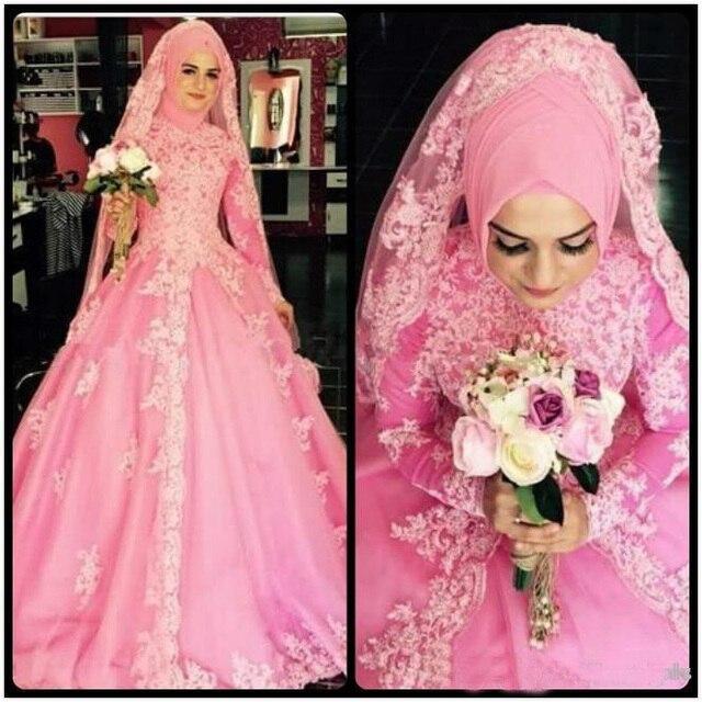 Pavo Vintage Vestido de Novia Hijab Musulmán Velo Rosa Princesa de ...