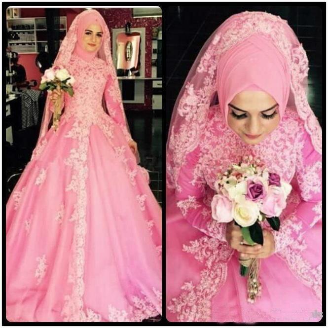 Vintage Turkey Muslim Wedding Dress font b Hijab b font Veil Pink Princess High Neck Long