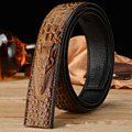 (No Buckle, Only Belt) High-end Fashion Crocodile Striped Men Strap Belt High Quality Leather Belt Men's Belts Luxury