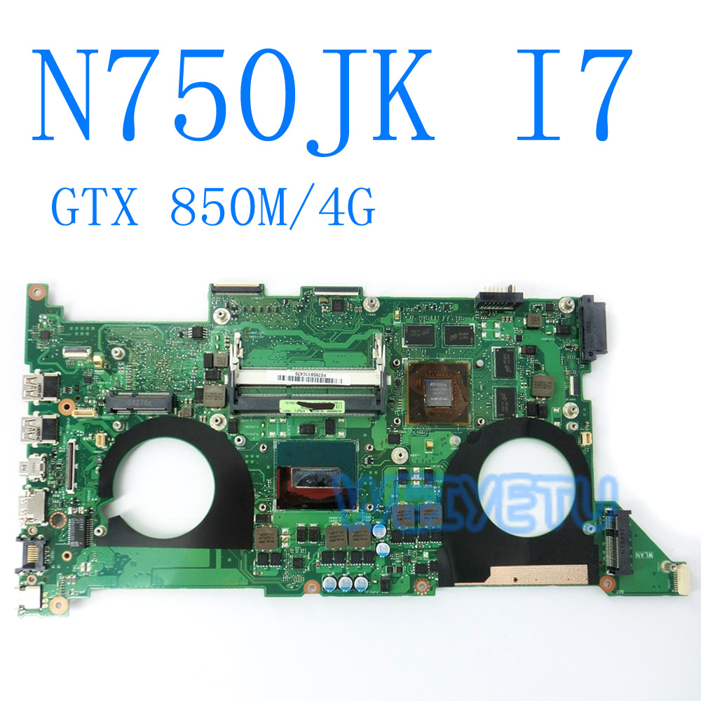 N750JK Motherboard With i7 CPU REV 3.0 GTX850M 4GB For ASUS N750JK Laptop motherboard N750JV Mainboard Motherboard test 100% OK