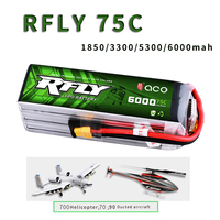 RFLY R fly 6S Rechargeable Lipo Battery 1850mAh 3300mAh 5300mAh 6000mAh 75C for 700 Helicopter 70 90 Ducted Aircraft UAV Drone