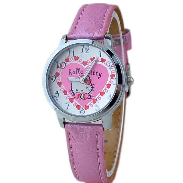 Fashion High-end Girls Love Pink Hello Kitty Children's Quartz Watch Wholesale KT Cat Belt Table.