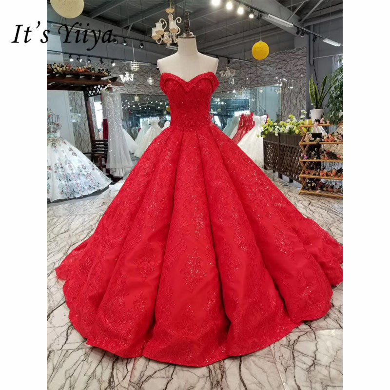 It's Yiiya Elegant Red Beading Bling Bride Gown Luxury Strapless Wedding Dress Vestidos De Novia Casamento I006