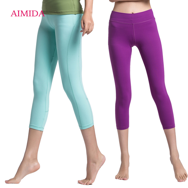 7a2d1488f2fb7 Aimida New Women Yoga Pants Sport Gym Running Tight Cropped Trousers Slim  Quick Dry Breathable Elastic Female Fitness Leggings
