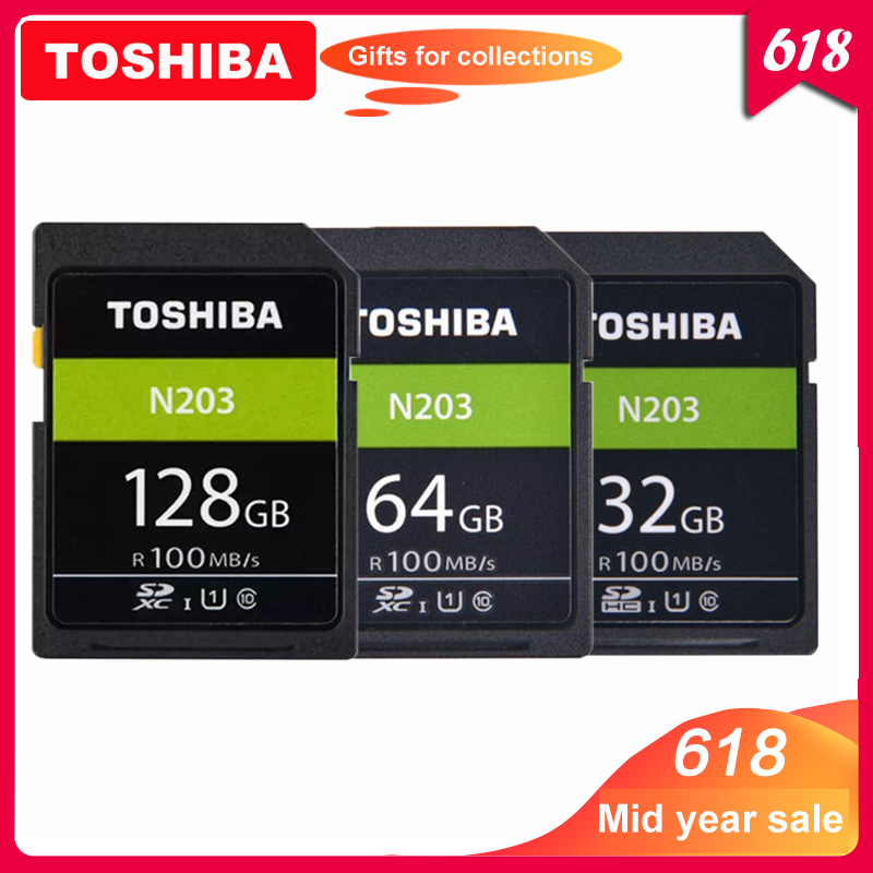 Original TOSHIBA  High Speed Memory SD N203 32G 64G 128G U1 SD Card Support Full HD Shooting for Canon Nikon Digital SLR Camera-in Memory Cards from Computer & Office