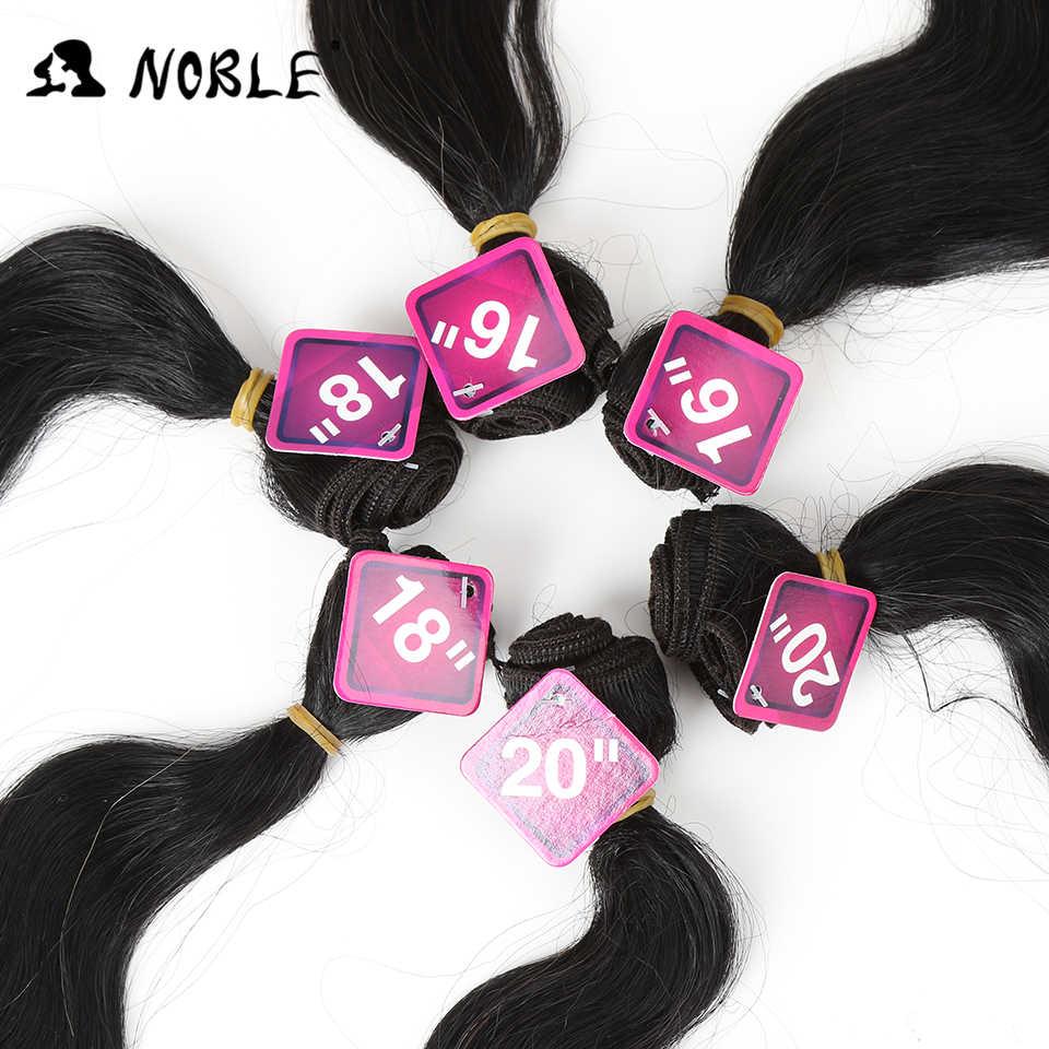 Pelo sintético Noble de 16-20 pulgadas, 7 piezas, pelo ondulado negro Rubio, 6 mechones con encaje de cierre para mujeres negras
