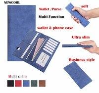 Negocio Clásico Portátil Caja de la Carpeta Para el iphone 5 5S se 6 6 s 7 más caja Del Teléfono de la Mujer Los Hombres Bolso de la Tarjeta Monedero de Múltiples Funciones