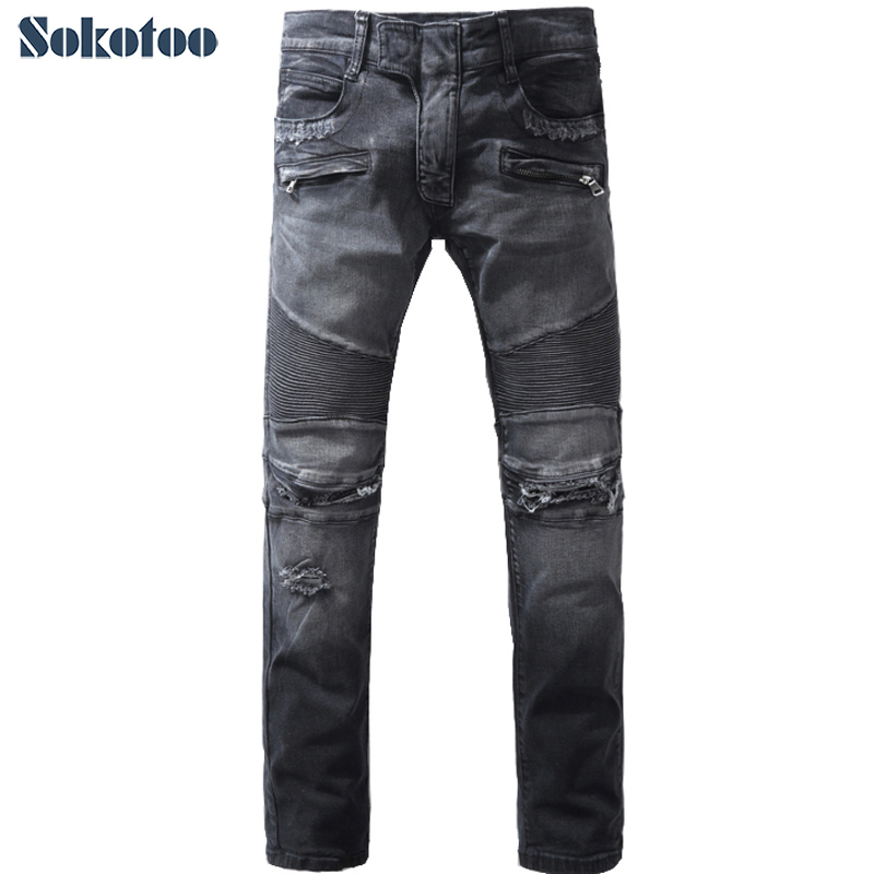 Sokotoo Men's fashion black hole ripped biker jeans Casual slim retro stretch denim straight pants Long trousers jeans men slim straight ripped jeans male hole jean pants casual denim trousers high quality all match long men s biker jean 54