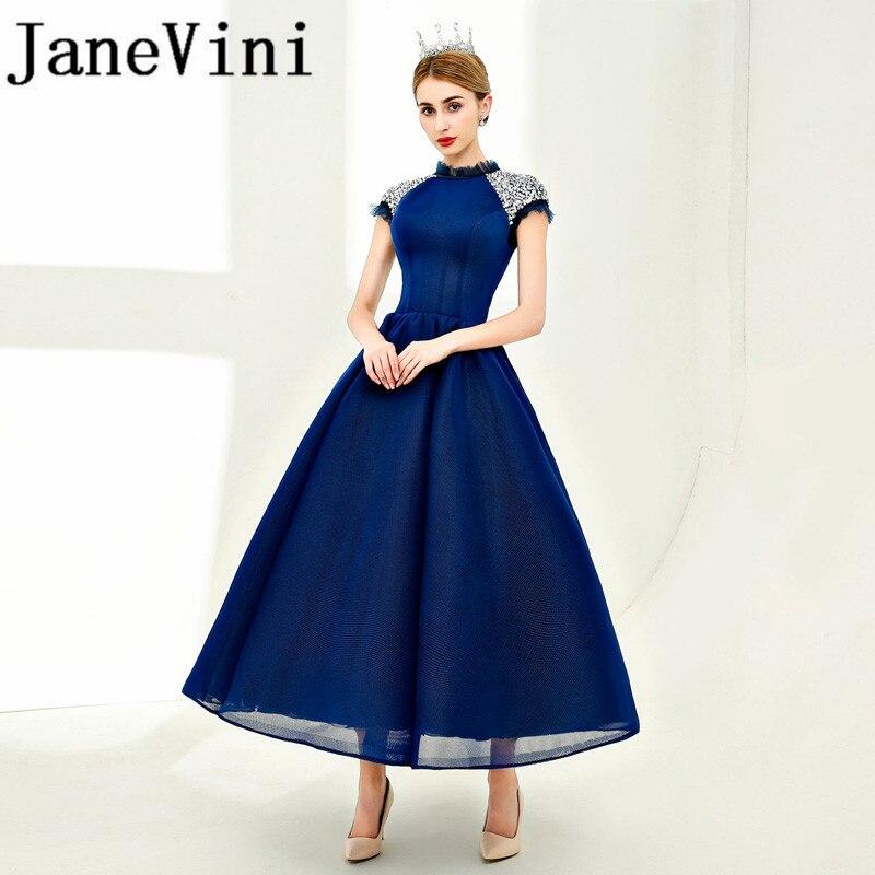JaneVini 2018 Sequins Long   Bridesmaid     Dresses   A-Line High Neck Ankle-Length Plus Size Prom Party   Dress   Vestidos Dama De Honra