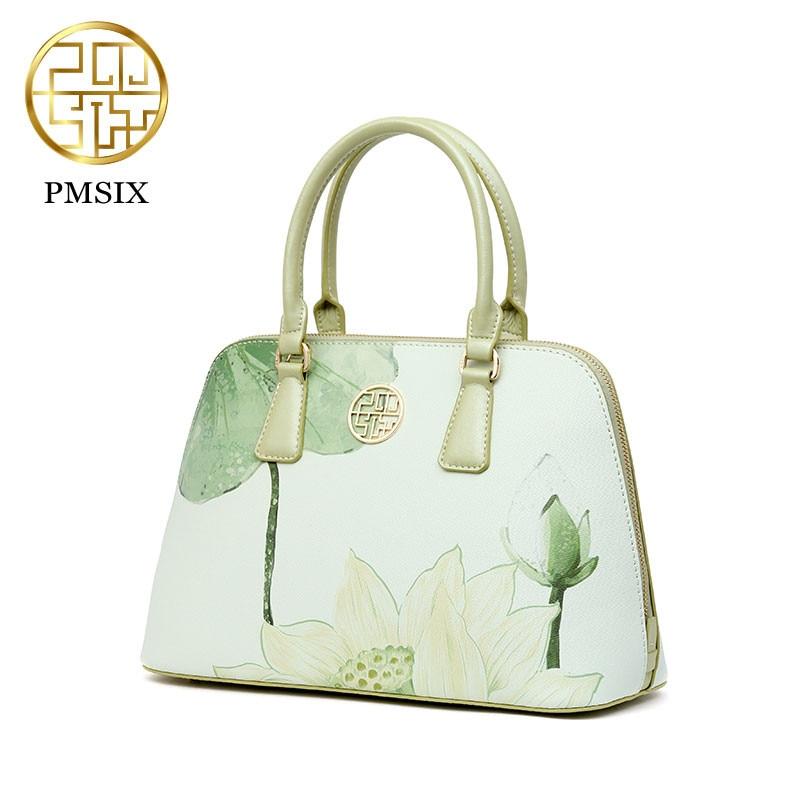 PMSIX brand 2019 designer luxury brand high quality split leather ladies light green fashion handbag shoulder