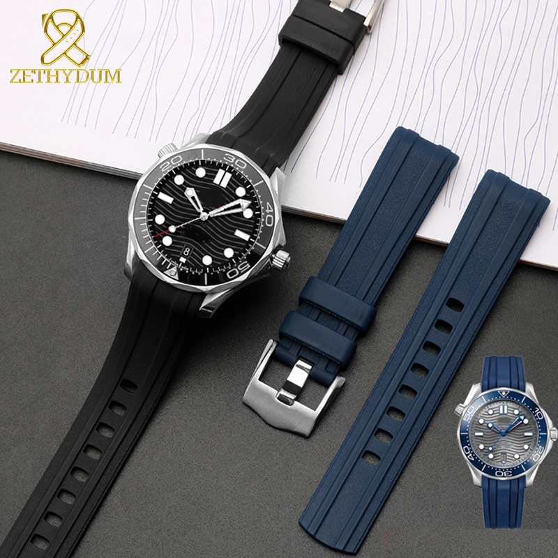 Silicone Rubber Watch Strap 20mm Watchband Curved End Waterproof Silicone Bracelet Watch For AT150 300 Blue Watch Band
