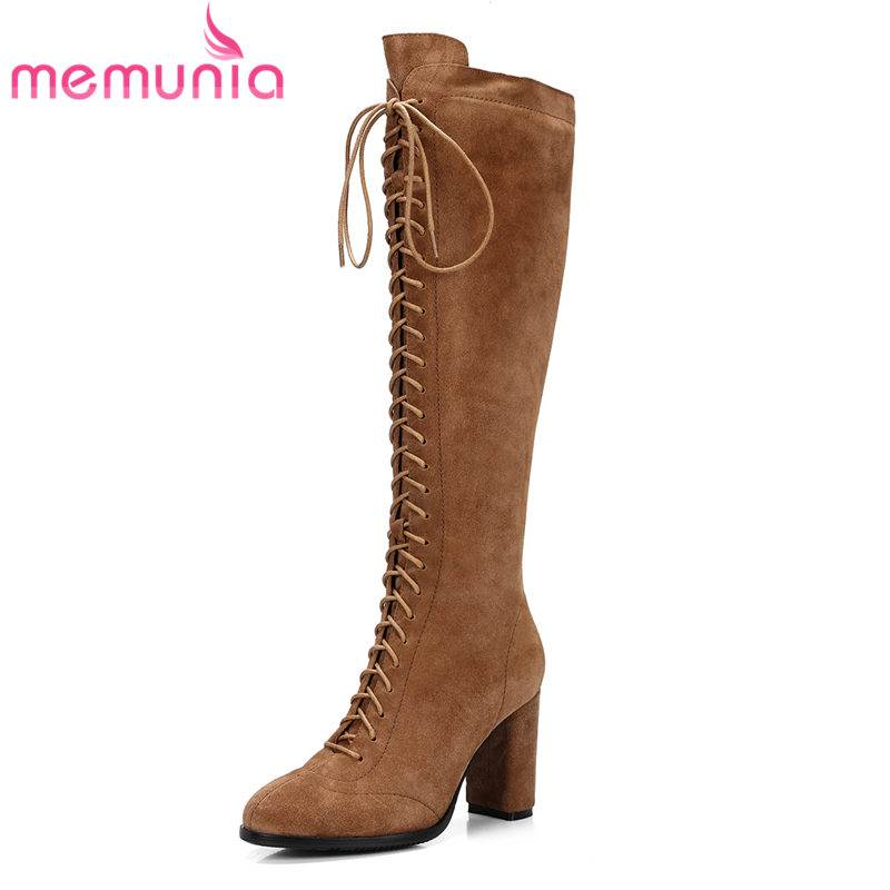 MEMUNIA 2018 HOT fashion cow suede leather knee high boots women zip round toe square super high heel autumn boots casual shoesMEMUNIA 2018 HOT fashion cow suede leather knee high boots women zip round toe square super high heel autumn boots casual shoes