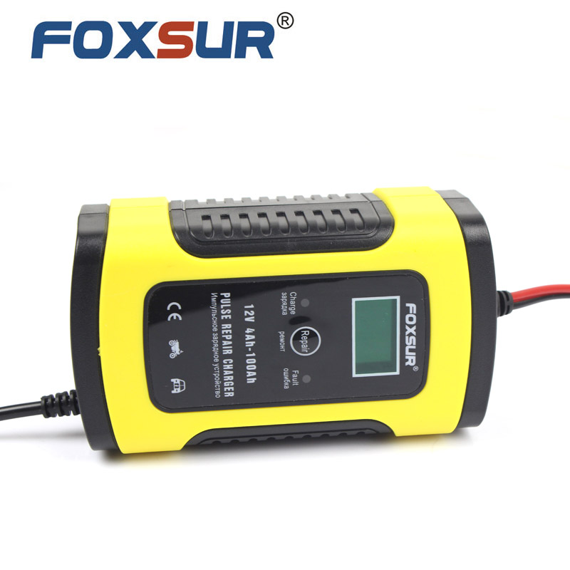 FOXSUR 12V 5A Pulse Battery Charger LCD Display  Motorcycle & Car Battery Charger  12V AGM GEL WET Lead Acid Battery Charger title=