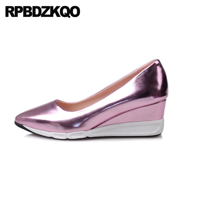 a62d5831b2906 Metallic Pointed Toe Cheap Casual Pumps Medium Heels Rose Gold High Classic  2018 Golden Size 4