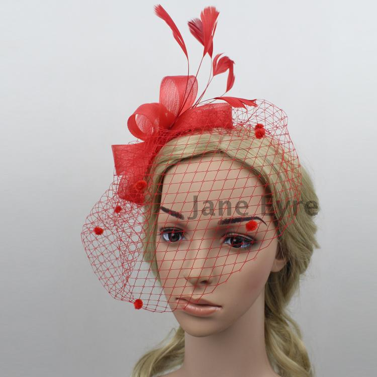 Free Shipping Vintage Black Ivory Red Bandeau Blusher Fascinator Bridal Birdcage Veil With Feathers And Tulle Flowers 615124 In Hair Accessories From