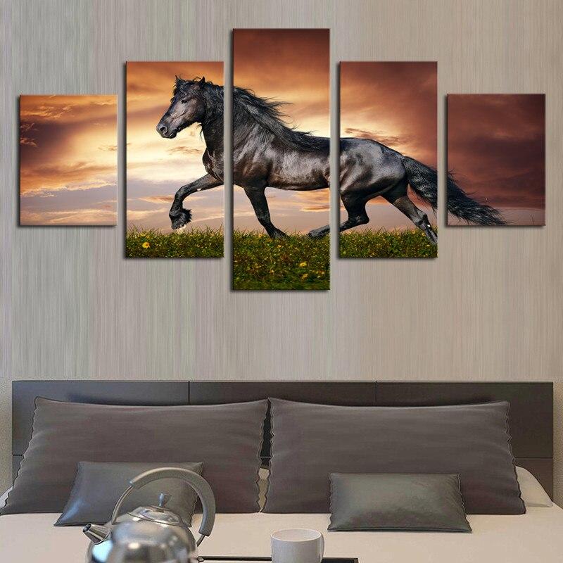 Unframed 5 panel walking caballo grande HD impreso pintura moderna ...