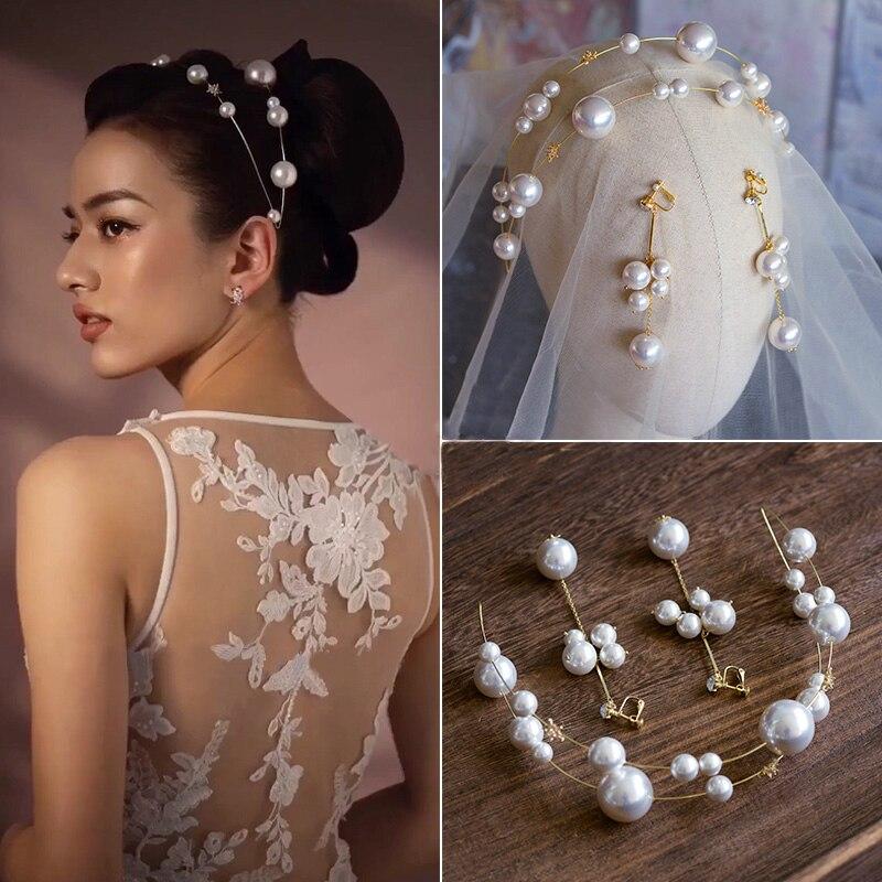 Bandeau de mariée perles européennes douces avec boucle d'oreille diadèmes de mariée couronne ensemble accessoire de cheveux de mariage coiffure de bal