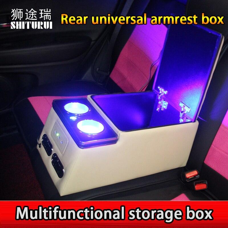 SHITURUI Hatchback Sedan rear handrails box storage box modified mobile phone charging USB interface general purpose belt lamp