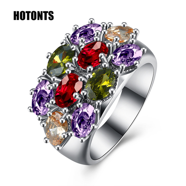 R976 Retro Style 14mm Wide Women S Multicolor Stones Wedding Rings