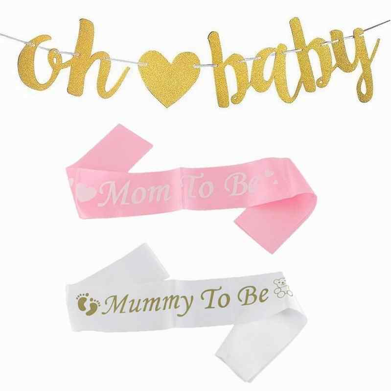 1PC Blue สีชมพู Mummy MMM TO BE SASH เด็กบอลลูนทารกฝักบัวตกแต่ง SASH ทารกแรกเกิด PARTY Decor ตั้งครรภ์ MOM ของขวัญ