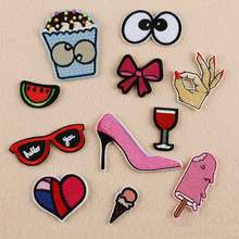 62Sexy Girl Pink Shoe Patch Cloth Badge Mend Decorate Patch Jeans Jackets Bag Shoes Clothes Apparel Sewing Decoration Applique(China)