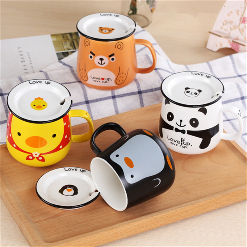 1pc Creative Lovely Panda/duck/bear/ Penguin Cartoon Office Ceramic Mug With Cover And Spoon Tea Milk Coffee Cup Couple Cups