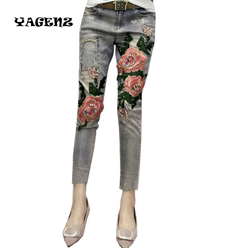 Новый Для женщин 3D цветок Джинсы для женщин Повседневное тонкий узкие брюки-карандаш синие джинсы Бисер Мотобрюки зауженные джинсы Вышивка...