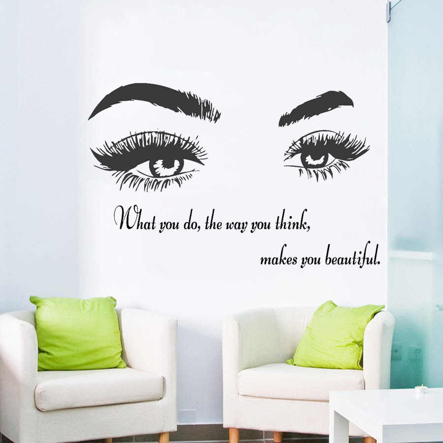 3ca3beb158c Eye Vinyl Wall Decal Beauty Salon Quote Sticker Eyelashes Lashes Extensions  Eyebrows Brows Make Up Wallpaper