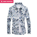 2016 Direct Selling New Cotton Men Shirt Dropshipping Mens Sleeved Floral Autumn Flower Shirt Youth Size Printed Male Boom,tx41
