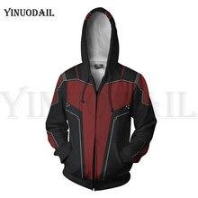 Ant-man Men and Women Zip Up Hoodies The Avengers Endgame 3D Hooded Jacket Superhero Sweatshirt Streetwear Cosplay Costume