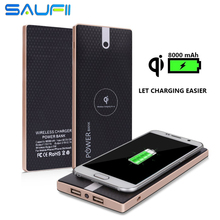 SAUFII Qi Wireless Power Bank 8000mAh Portable 2 in 1 Fast Charging for Qi Devices iPhone 6 /6s Plus Samsung Galaxy S5/S6/S7