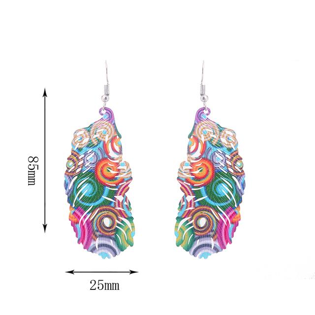 Ethnic Long Colorful Peacock Feather Metal Dangle Earrings
