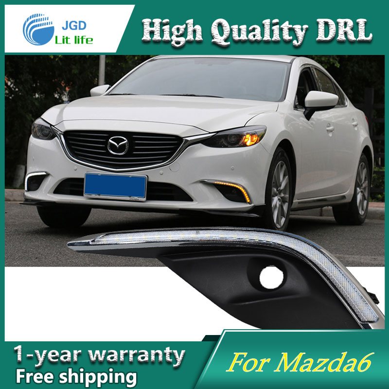 Free shipping ! 12V 6000k LED DRL Daytime running light case for Mazda 6 Mazda6 2016 2017 fog lamp frame Fog light Car styling free shipping 12v 6000k led drl daytime running light case for peugeot 508 fog lamp frame fog light car styling