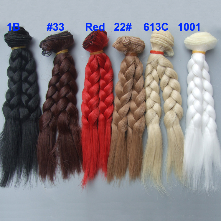 15cm braid wigs hair for doll  red white brown black color Hair Natural Color braided Wigs for BJD Doll 1pcs 25cm 100cm long curly brown falxen black khaki natural color quality thick doll wigs hair for 1 3 1 4 bjd doll