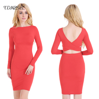 2017 Sexy Club Back Criss Bandage Hollow Out Dress Women Long Sleeve Backless Slim Black Red