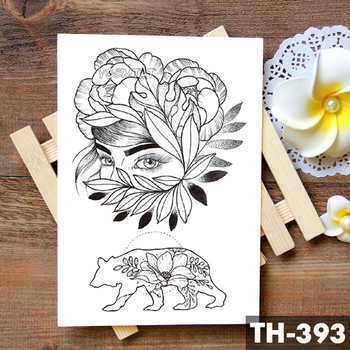 Geometric Flower Rose Eye Leaves Waterproof Temporary Tattoo Sticker Diamond Peony Black Tattoos Body Art Arm Fake Tatoo 2