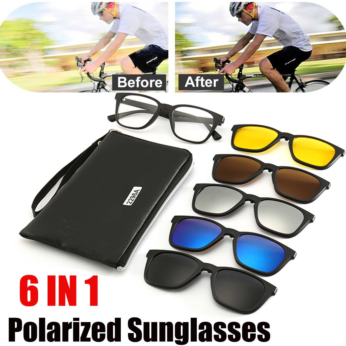 <font><b>6</b></font> <font><b>IN</b></font> <font><b>1</b></font> 2296A Night Vision Glasses Polarized <font><b>Sunglasses</b></font> Retro Frame Eyewear Night Vision Driving Optical Glasses With Carry Bag image