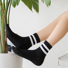 1 Pairs/Lot New Retro Harajuku Style Tube Cotton Women Socks Autumn Winter Two Bars Ladies Sports 5 Colors