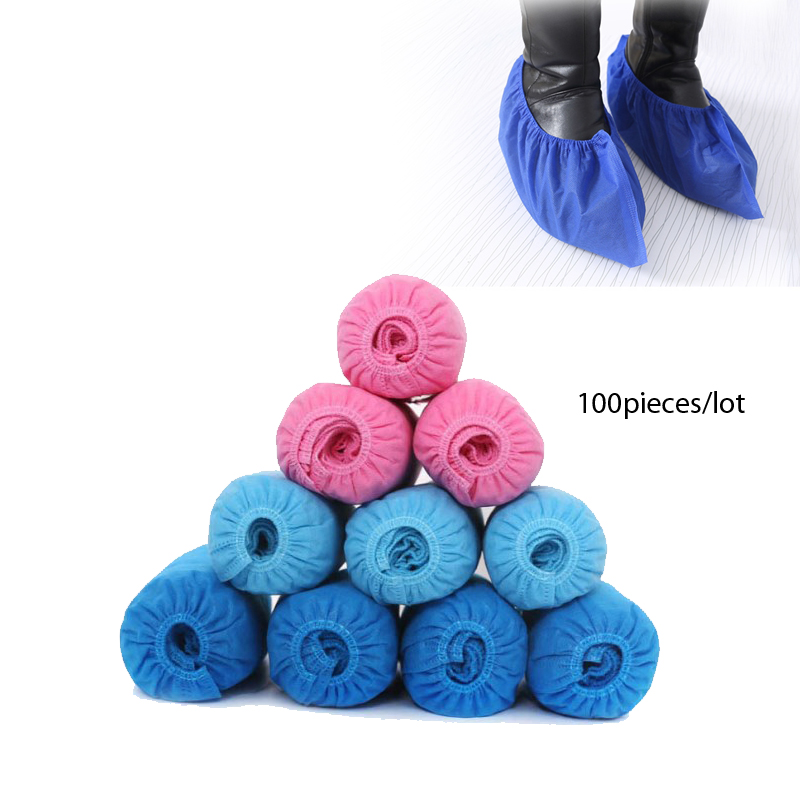 100pieces/lot Disposable disposable shoe covers Blue pink non-woven fabrics cleaning food industry medical hopsiptal room цены