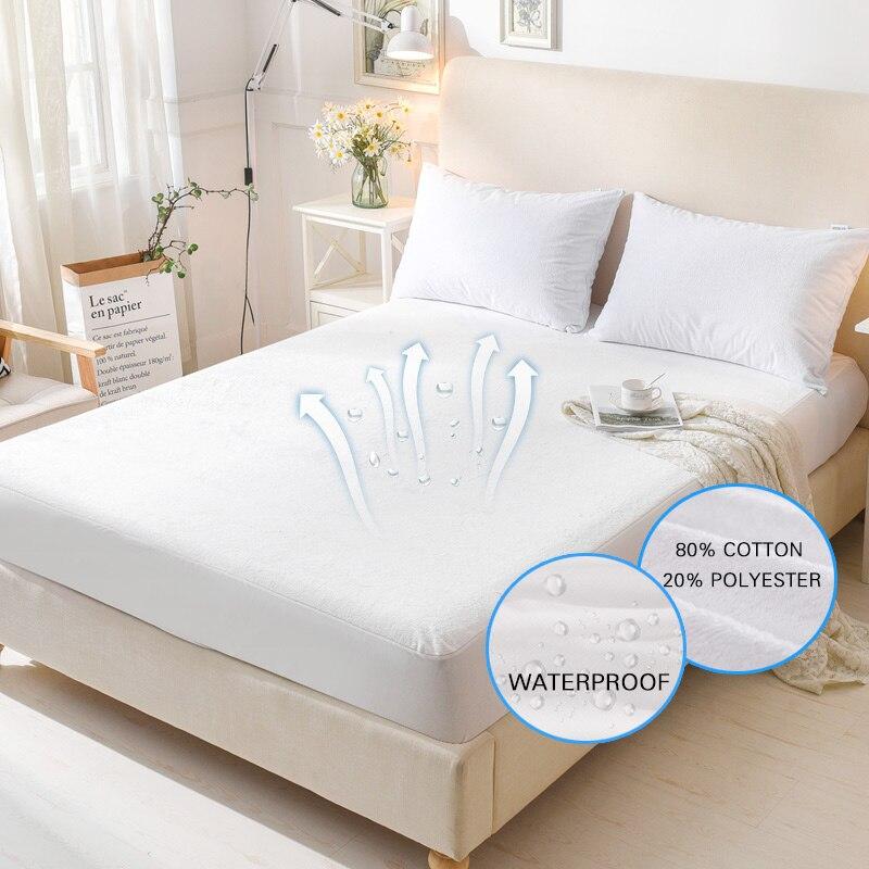 Terry Funda de colchón impermeable Anti-ÁCAROS transpirable hipoalergénico cama almohadilla de protección Protector de colchón cama Bug traje de 1 unid