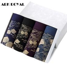 Ark Royal 2017 Underwear Men 4pcs/lot Underwear Flower Print Cotton Boxer Men Cueca Homme calzoncillos hombre